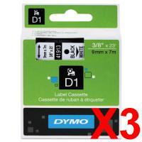 3 x Dymo D1 Label Tape 9mm Black on White 40913