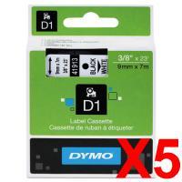 5 x Dymo D1 Label Tape 9mm Black on White 40913