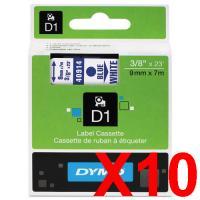 10 x Dymo D1 Label Tape 9mm Blue on White 40914