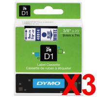 3 x Dymo D1 Label Tape 9mm Blue on White 40914