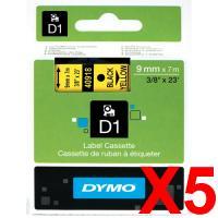 5 x Dymo D1 Label Tape 9mm Black on Yellow 40918