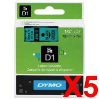 5 x Dymo D1 Label Tape 12mm Black on Green 45019