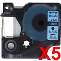 5 x Compatible Dymo D1 Label Tape 12mm Black on Blue 45016
