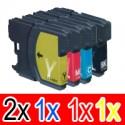 5 Pack Brother LC-38 Ink Cartridge Set (2BK,1C,1M,1Y)