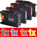 5 Pack Brother LC-73 Ink Cartridge Set (2BK,1C,1M,1Y)