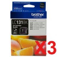 3 x Brother LC-131 Black Ink Cartridge LC-131BK