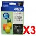 3 x Brother LC-231 Black Ink Cartridge LC-231BK