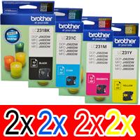 8 Pack Brother LC-231 Ink Cartridge Set (2BK,2C,2M,2Y)