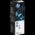 1 x HP 31 Cyan Ink Bottle 1VU26AA