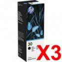 3 x HP 30 Black Ink Bottle 1VU29AA